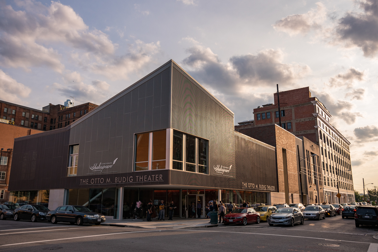 The Cincinnati Shakespeare Company recently opened its new Otto M. Budig Theater at the southwest corner of 12th and Elm Streets in Over-the-Rhine. The building features a single, intimate auditorium, a second floor rehearsal studio, Juliet balcony, and a spacious first floor lobby anchored by a wooden bar near the box office. / Image: Phil Armstrong, Cincinnati Refined // Published: 9.7.17