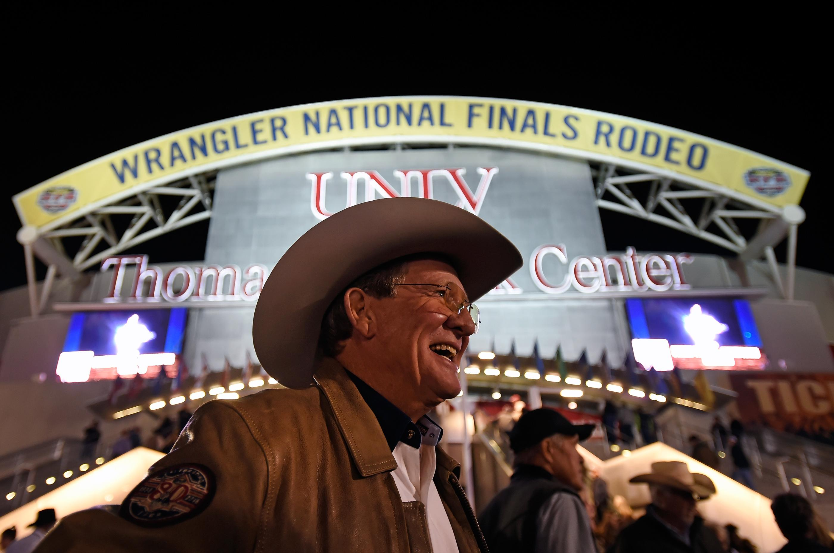 Delbert Warren of Oklahoma is all smiles before as he arrives for the seventh go-round of the National Finals Rodeo at the Thomas & Mack Center Wednesday, Dec. 13, 2017, in Las Vegas. CREDIT: David Becker/Las Vegas News Bureau