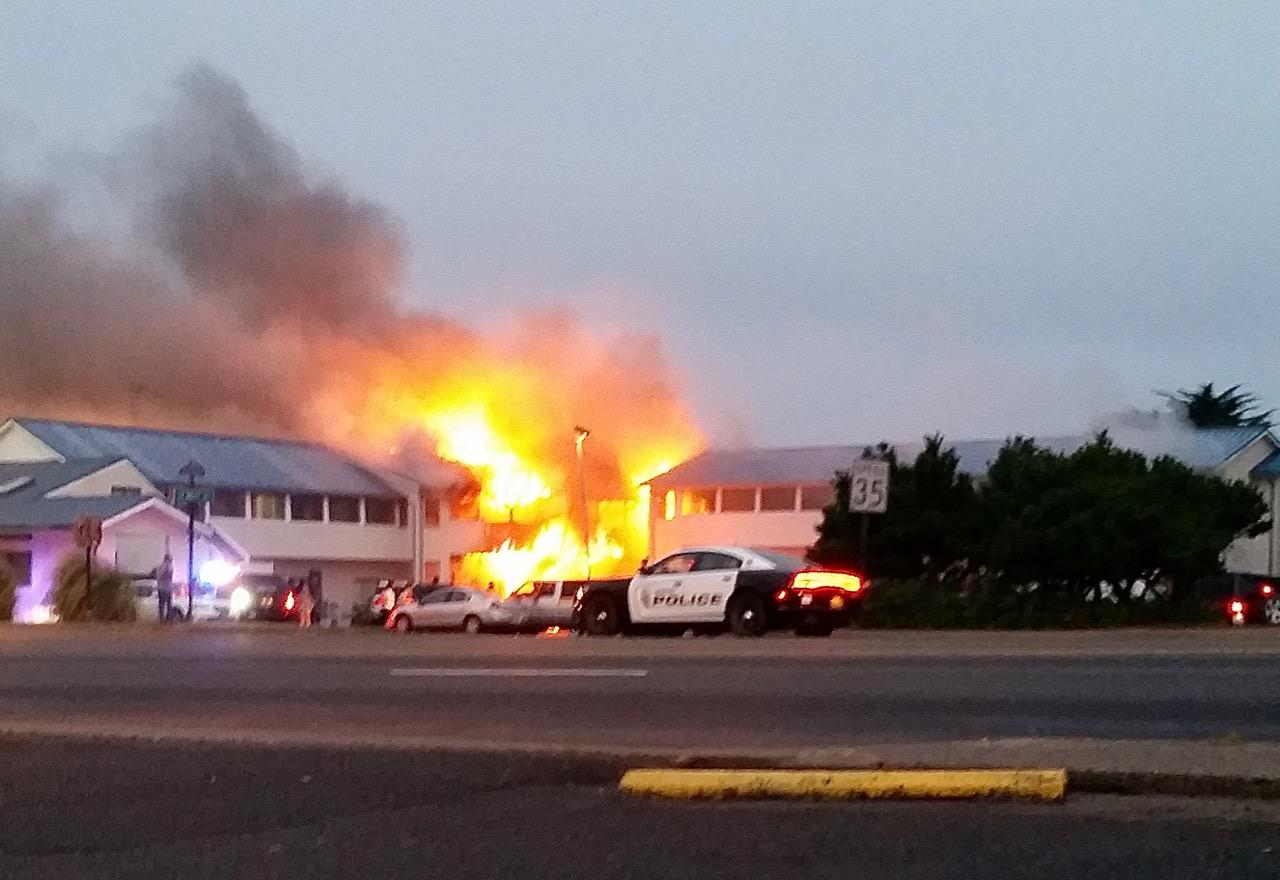 Fire at Newport's City Center Motel (courtesy Echo Morris).
