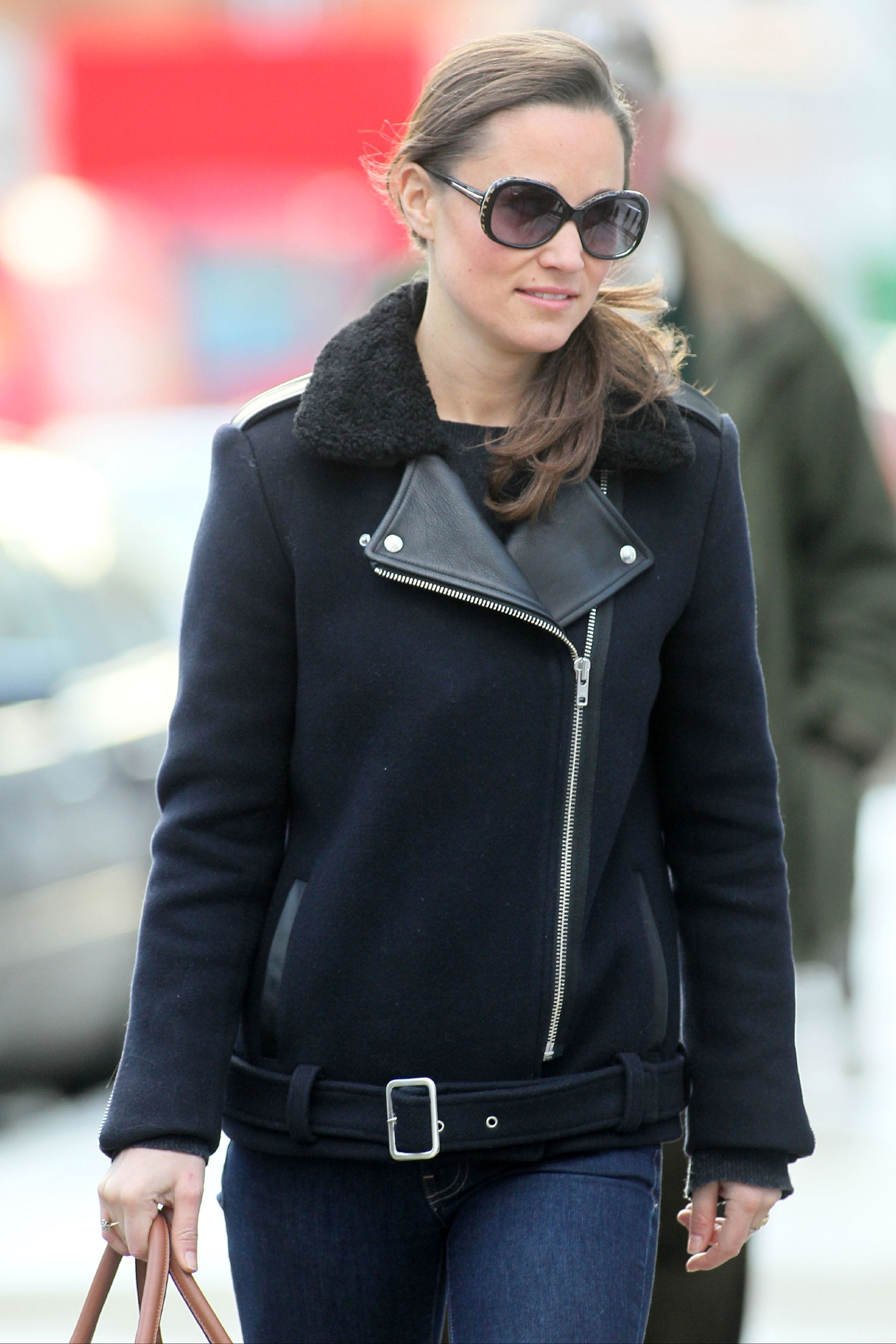 Pippa Middleton out and about in central London wearing dark sunglasses and a double breasted zip-up jacket with a fur collar  Featuring: Pippa MiddletonWhere: London, United Kingdom When: 07 Dec 2012 Credit: WENN.com