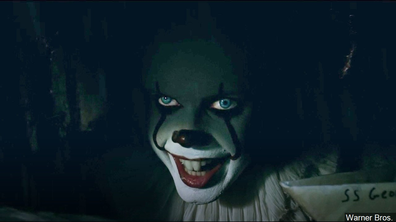"Bill Skarsgård in his role as Pennywise from the movie ""It"" (Warner Bros.)"