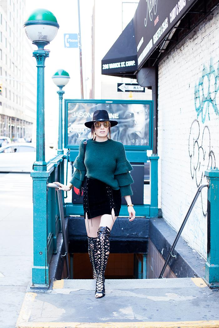 Wearing: Endless Rose sweater and skirt found at South Moon Under, Lust for Life thigh high cage boots, D&Y hat, vintage sunnies (Image: Courtesy Ashley Hafstead/Chicville USA)