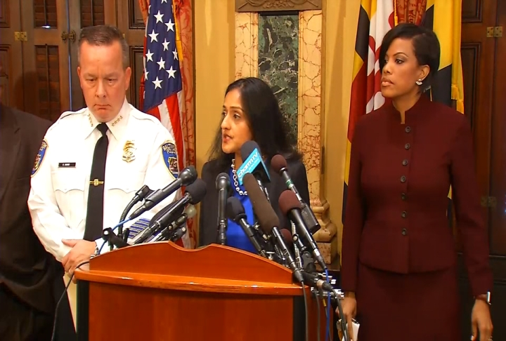 Principal Deputy Assistant Atty. Gen. Vanita Gupta, head of the Justice Department's Civil Rights Division, joined Baltimore Mayor Stephanie Rawlings-Blake and Baltimore Police Department Commissioner Kevin Davis to brief the public on the findings Wednesday morning. (WBFF)