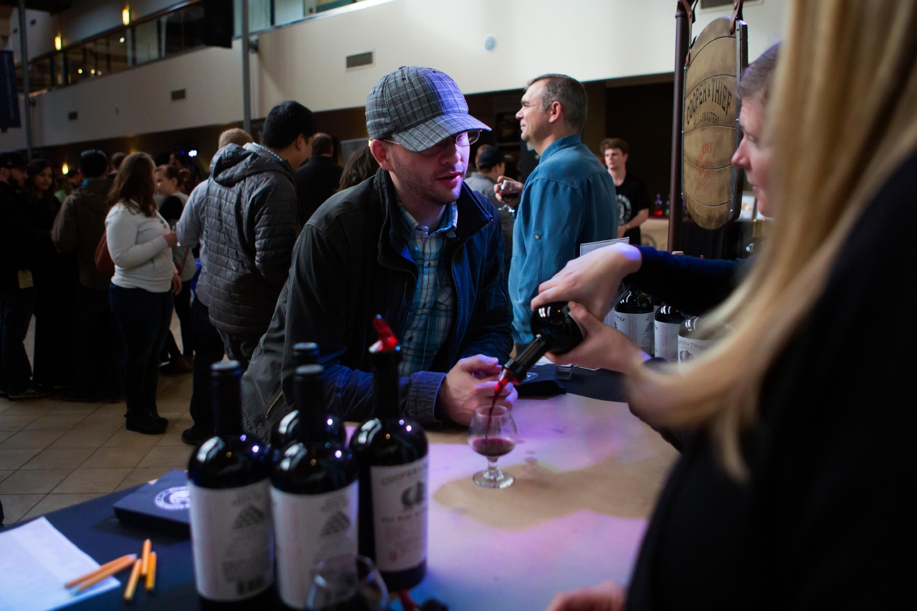 Cooper & Thief's dark and jammy red wine blend, aged for three months in bourbon barrels, at the Bourbon & Bacon Fest in SODO. (Sy Bean / Seattle Refined)