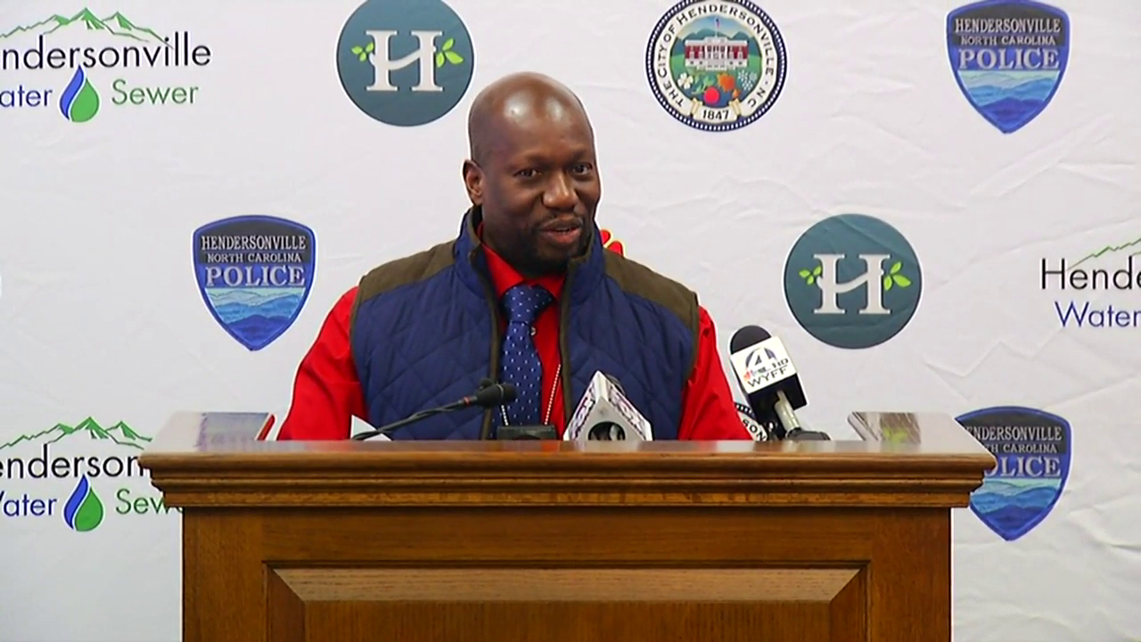 Hendersonville Police Chief Herbert Blake holds a news conference on Friday, Dec. 1, about a fatal officer-involved shooting the night before. (Photo credit: WLOS Staff)