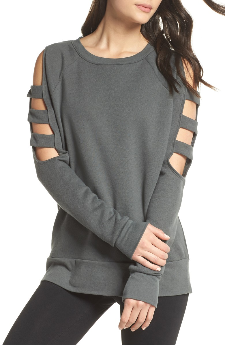 Cutout Sleeve Sweatshirt - $59.{ }Looking for a jumpstart to your workout wardrobe? Zella, a Nordstrom brand, has you covered. Find more info and buy online at shop.nordstrom.com/c/all-zella. (Image: Nordstrom){ }