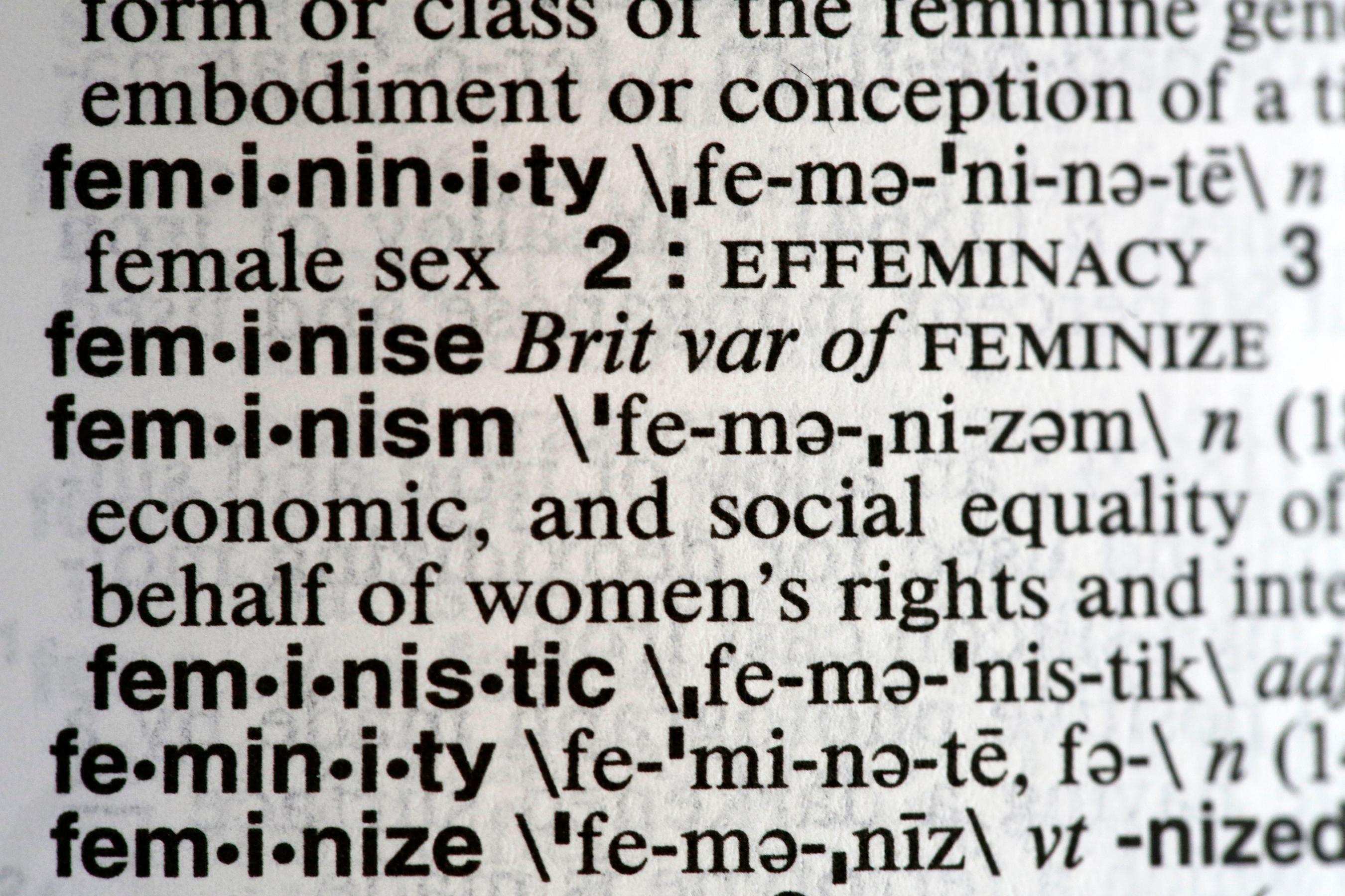 "This Monday, Dec. 11, 2017, photo taken in New York shows the word feminism listed in the dictionary. Merriam-Webster has revealed ""feminism"" as its word of the year for 2017 on Tuesday, Dec. 12. (AP Photo/Peter Morgan)"