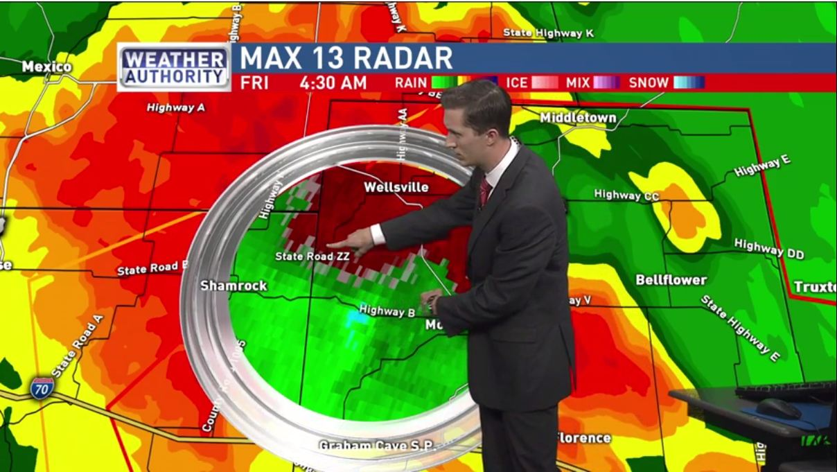 Meteorologist Will Haenni was on air tracking storms as they moved through the area. This image was taken during the tornado warning for northeastern Callaway and Montgomery Counties at 4:30 a.m. (KRCG 13)