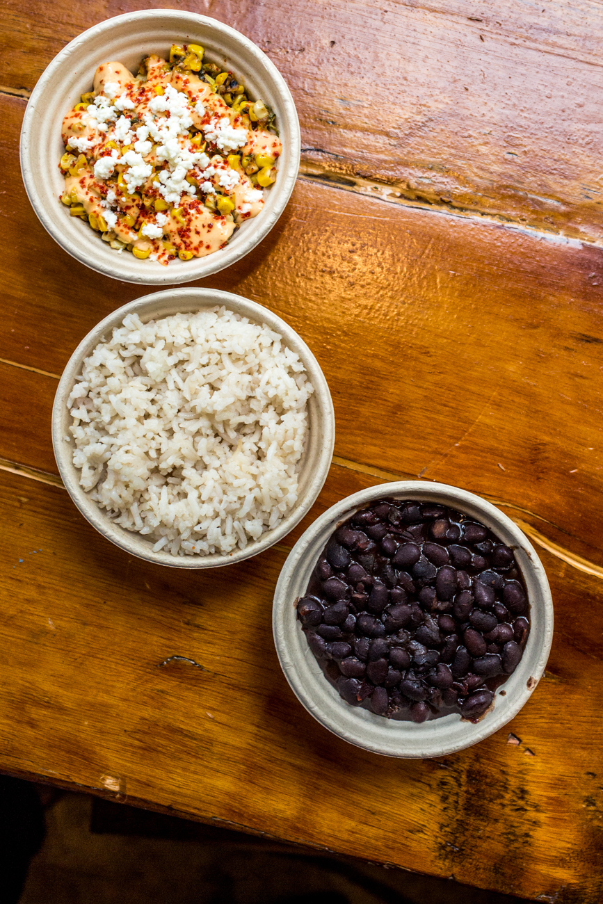 Esquites, rice, and frijoles /{ }Image: Catherine Viox{ }// Published: 8.31.19