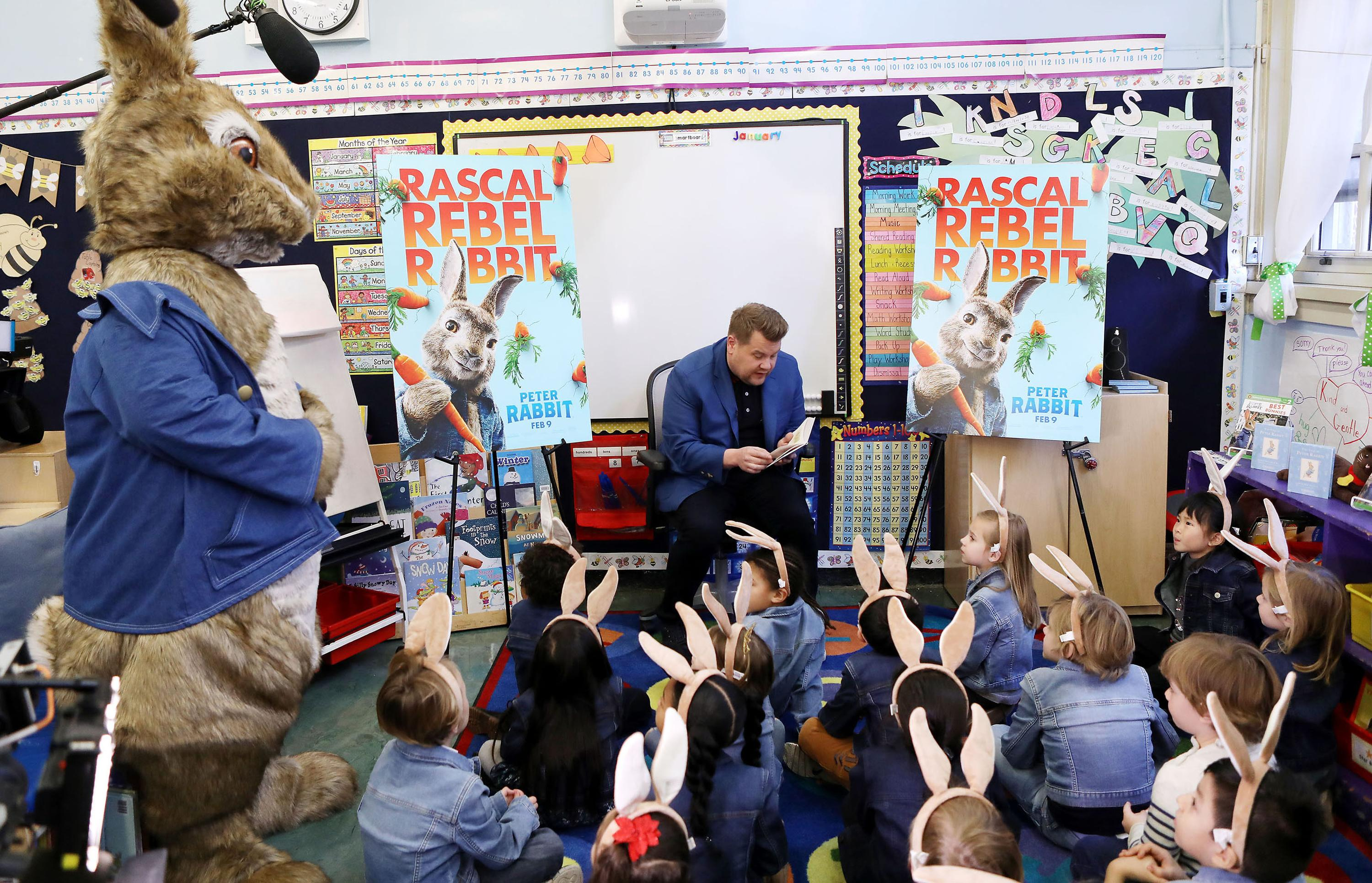 New York, NY - 1/25/18  - James Corden with students at New York City School to announce Blue Jacket Day on behalf of Columbia Pictures' PETER RABBIT. (Photo:{&amp;nbsp;} Patrick Lewis courtesy of Sony Pictures)<p></p>