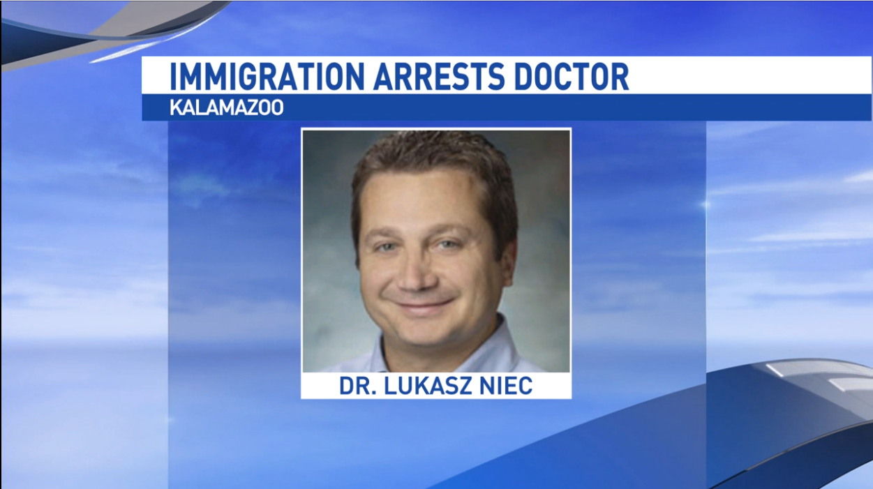 Lukasz Niec, a Bronson physician for 11 years, was taken into custody Jan. 16, 2018, by immigration enforcement agents. (WWMT)<p></p>