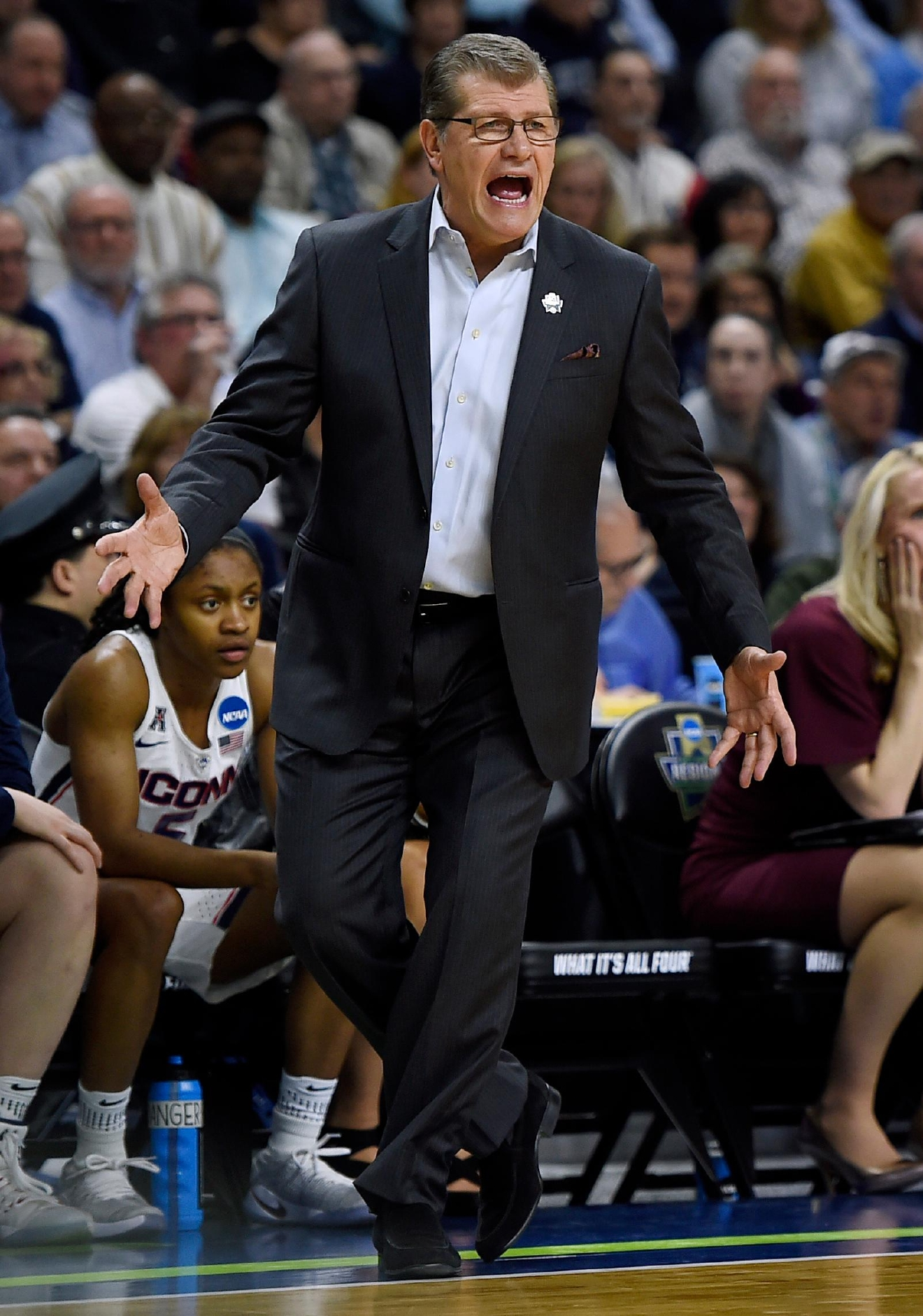 Connecticut head coach Geno Auriemma shouts instructions during the first half of a regional final game between Oregon and Connecticut in the NCAA women's college basketball tournament, Monday, March 27, 2017, in Bridgeport, Conn. (AP Photo/Jessica Hill)