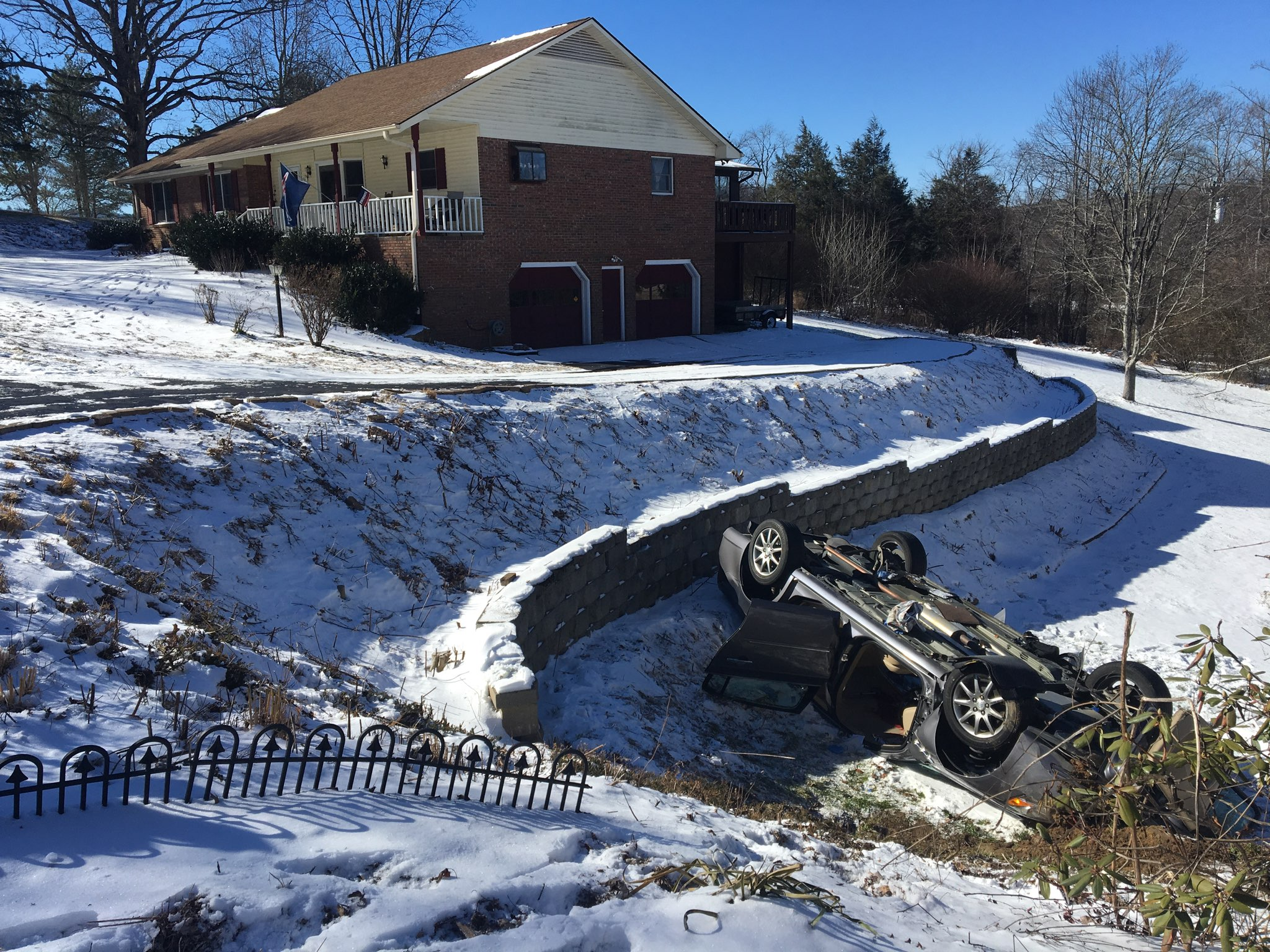 Highway Patrol says a couple was leaving their neighborhood on Mountain Valley Road when their car slid, went into a ditch and overturned. (Photo credit: WLOS Staff)