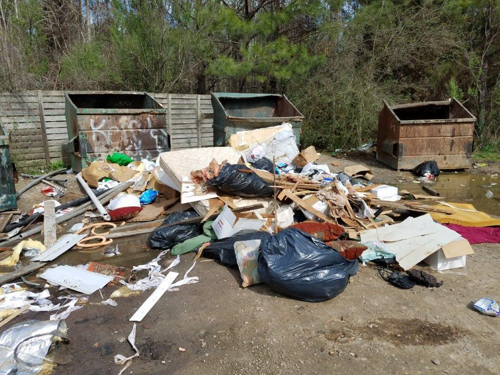 County officials have closed each of the four sites down one week at a time to repaint dumpsters, clear all of the trash, and grade the gravel in hopes people will treat the sites better, but said that has not been the case. (Credit: Fred White/Bulloch Co. Environmental & Solid Waste Dept.)