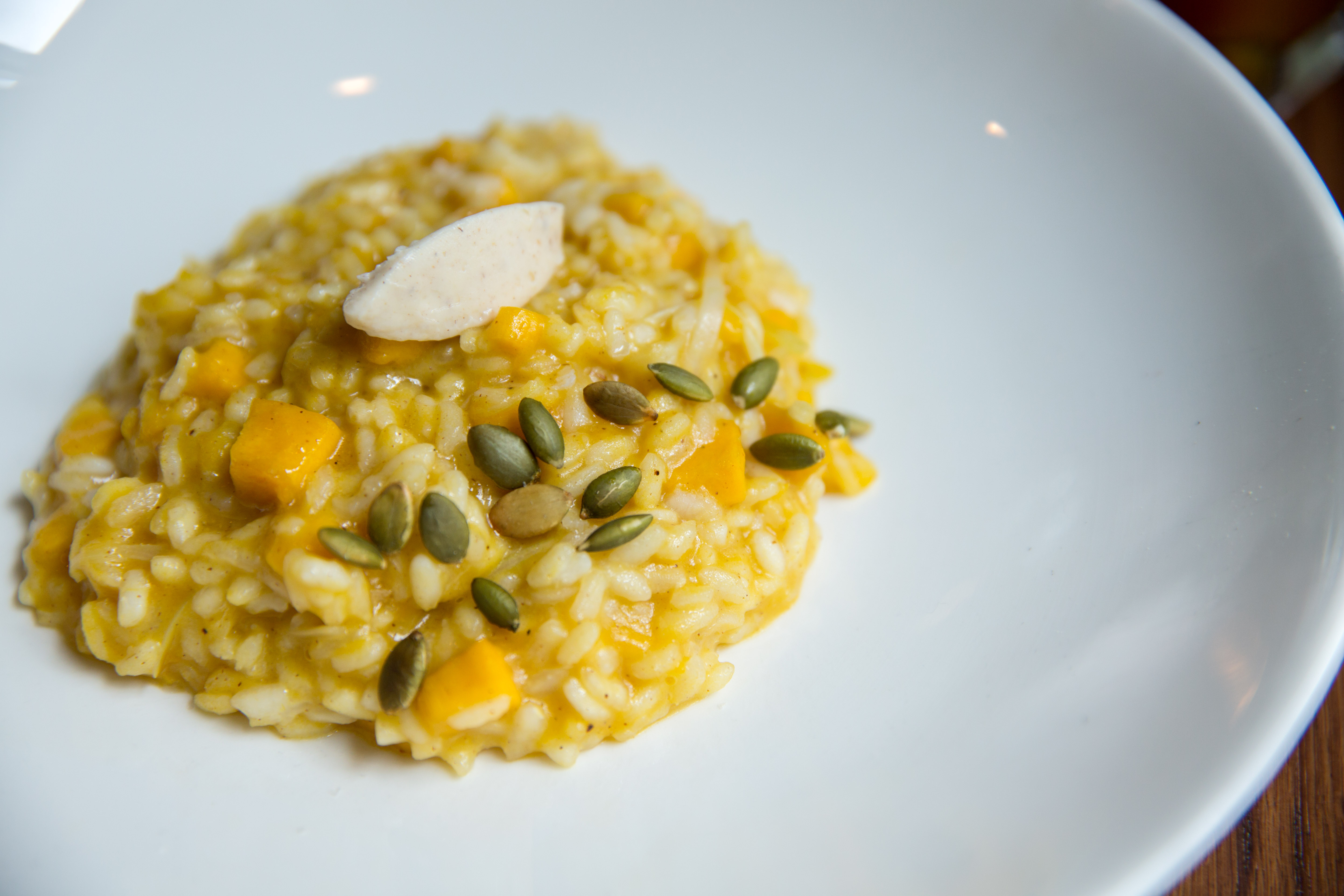 Pumpkin Risotto ($19), buttered leeks, spiced mascarpone, toasted pumpkin seeds.{ } You can find these amazing pumpkin items at Tulio until October 31! (Image: Adela Lee).