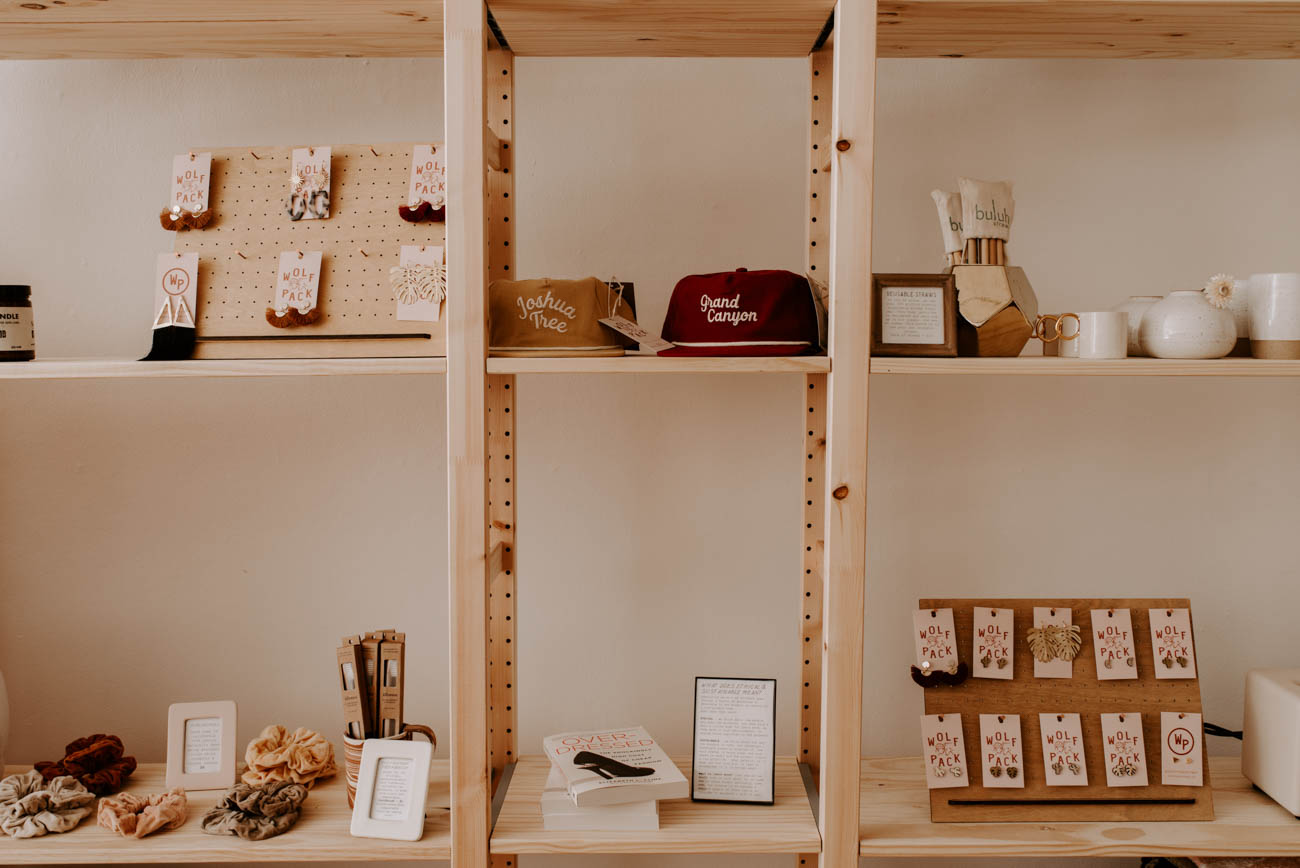 All of the packaging at Wolfpack is made of either recycled products or biodegradable materials to avoid waster ending up in landfills. Aside from the OTR storefront, customers can order pieces online as well as find Wolfpack at pop up shops across the Midwest. / Image: Brianna Long // Published: 5.29.19