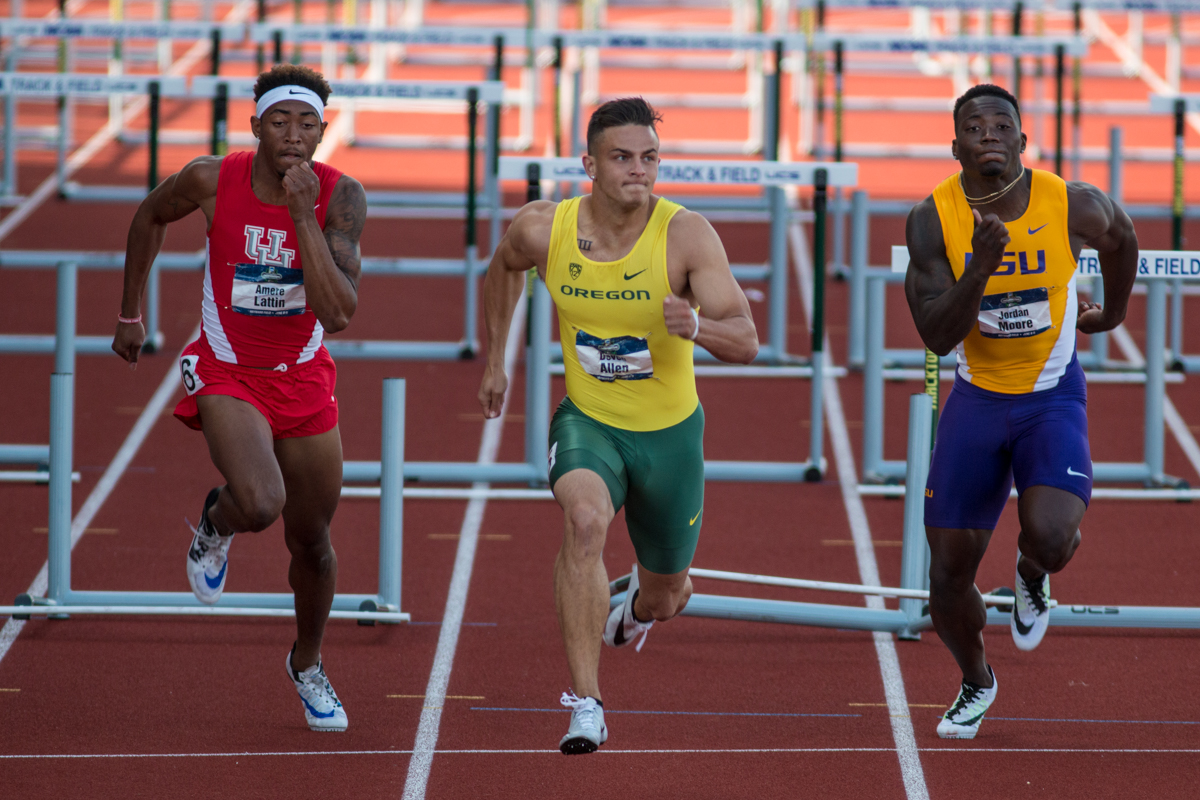 Oregon Ducks Devon Allen runs a 13.50 to claim his second NCAA title in the 110H. Oregon News, Photo by Dillon Vibes