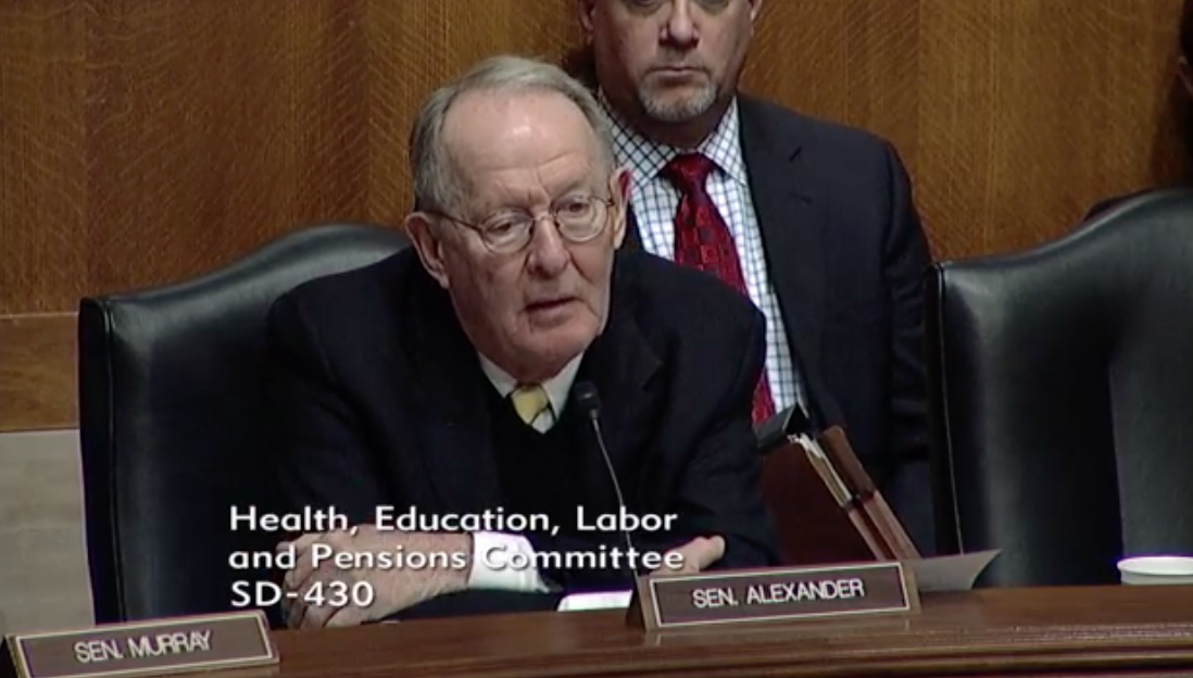 Committee Chairman Senator Lamar Alexander, R-Tenn. / Photo:{&amp;nbsp;}The Senate Committee on Health, Education Labor &amp;amp; Pensions<p></p>
