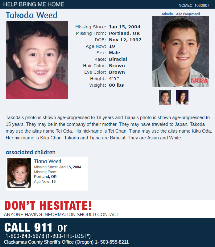 President Ronald Reagan proclaimed May 25 as National Missing Children's Day back in 1983. Here is a look at the missing children with ties to Oregon listed in the databases of the National Center for Missing and Exploited Children.