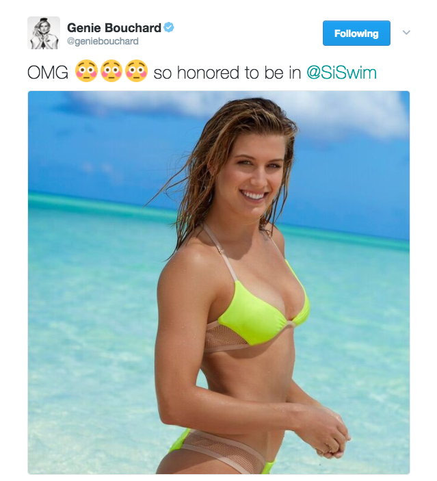 Genie Bouchard posts a photo on Twitter from her Sports Illustrated Swimsuit shoot.