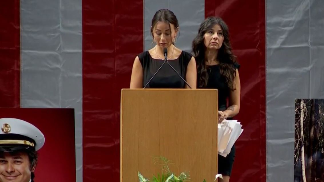 Burchett's sisters, Monica Brinkerhoff and Gina Zipp, comment at the funeral services of their brother, Matthew Burchett, at the Maverik Center in West Valley City. (Photo: KUTV)<p></p>