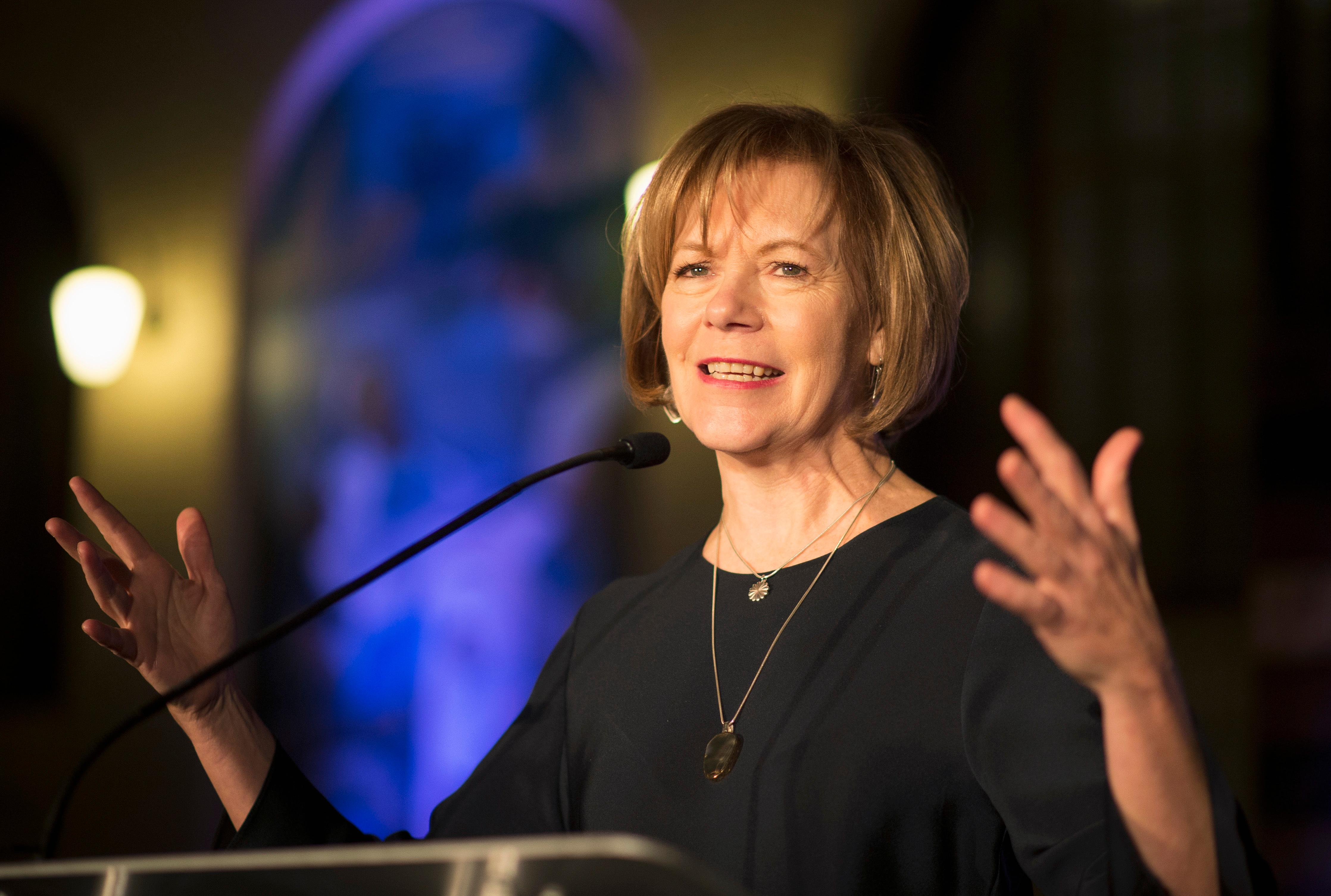 FILE - In this Jan. 10, 2015 file photo, Minnesota Democratic Lt. Gov. Tina Smith speaks to attendees at the North Star Ball in St. Paul, Minn. Minnesota Gov. Mark Dayton is set to name his choice to replace Al Franken in the U.S. Senate, with the top contender seen as Lt. Gov. Smith. Dayton was expected to make the appointment Wednesday, Dec. 13, 2017, nearly a week after Franken announced his plan to resign over allegations of sexual misconduct. (Aaron Lavinsky/Star Tribune via AP, File)
