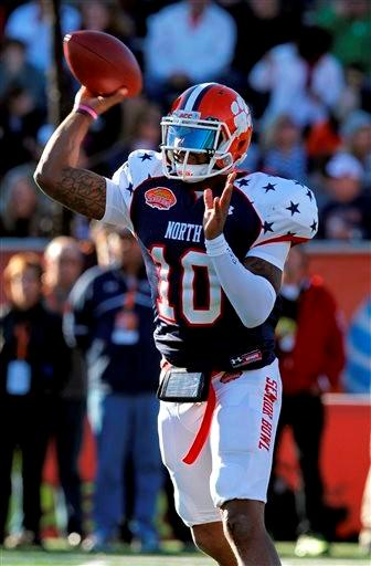 North quarterback Tajh Boyd, of Clemson, throws a pass during the first half of the Senior Bowl NCAA college football game against the South team on Saturday, Jan. 25, 2014, in Mobile, Ala.