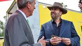 Mayor Sandy Stimpson delivers key to the city to Nicolas Cage