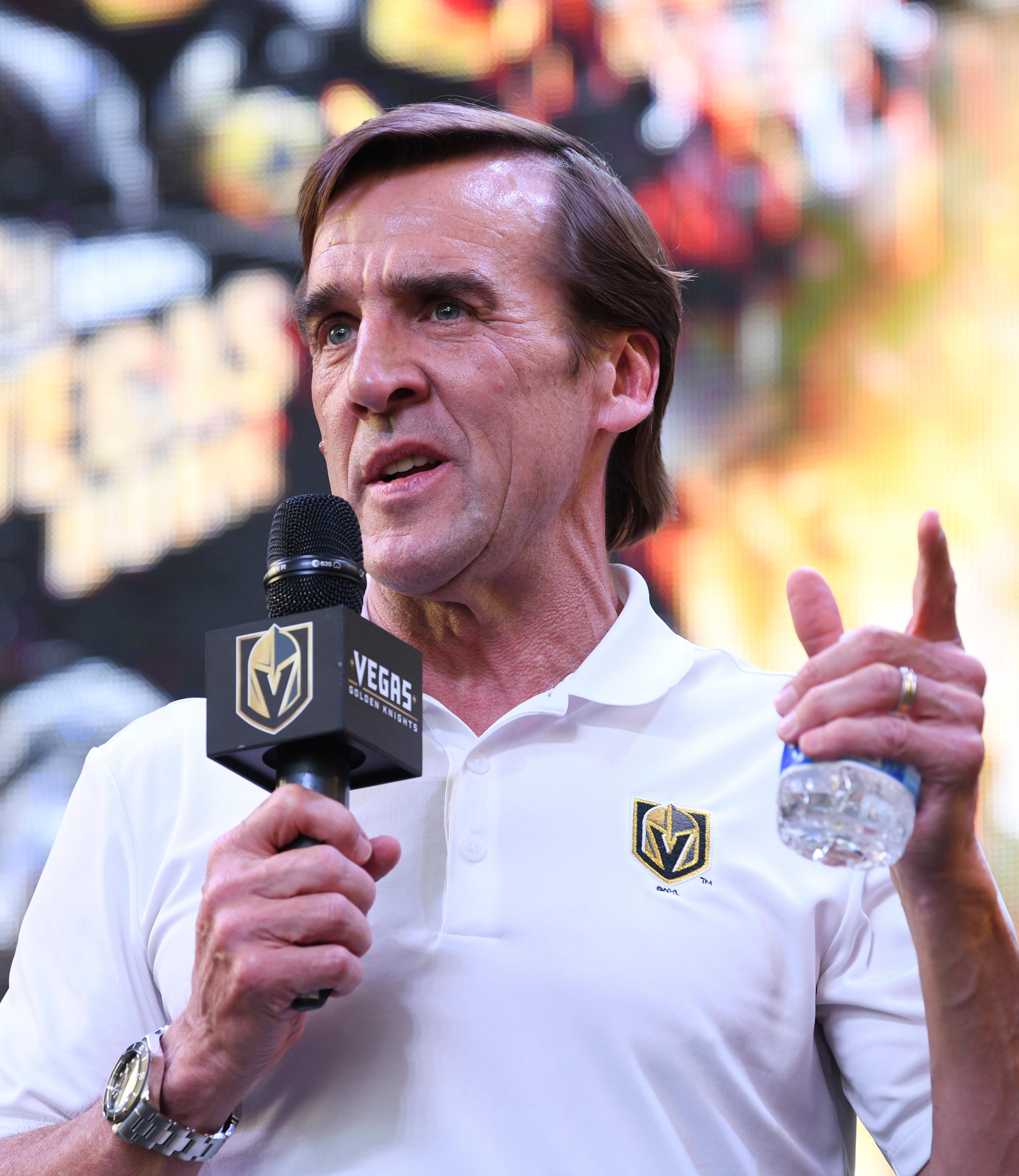 Vegas Golden Knights general manager George McPhee speaks during a Vegas Golden Knights Stick Salute to Vegas fan appreciation rally at the Fremont Street Experience Wednesday, June 13, 2018. CREDIT: Sam Morris/Las Vegas News Bureau