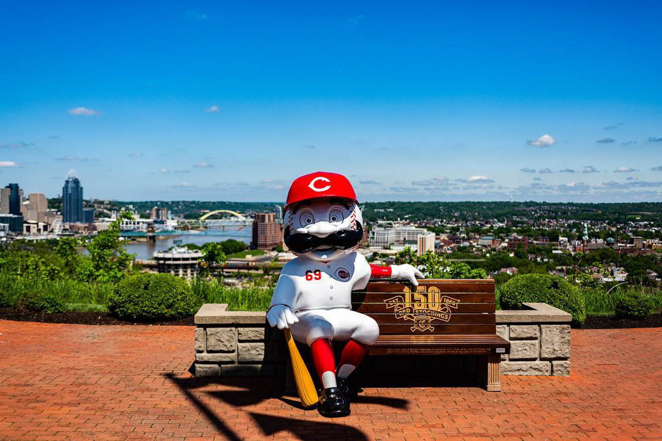 I can almost watch the game from up here...{ }/ Location: Memorial Overlook at Drees Pavilion in Devou Park / Uniform: 1969/ Image courtesy of Instagram user @mcnidas   // Published: 5.14.19