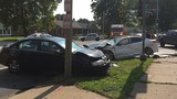 Wanted man flees scene after 3 car accident at Spring and South Grand