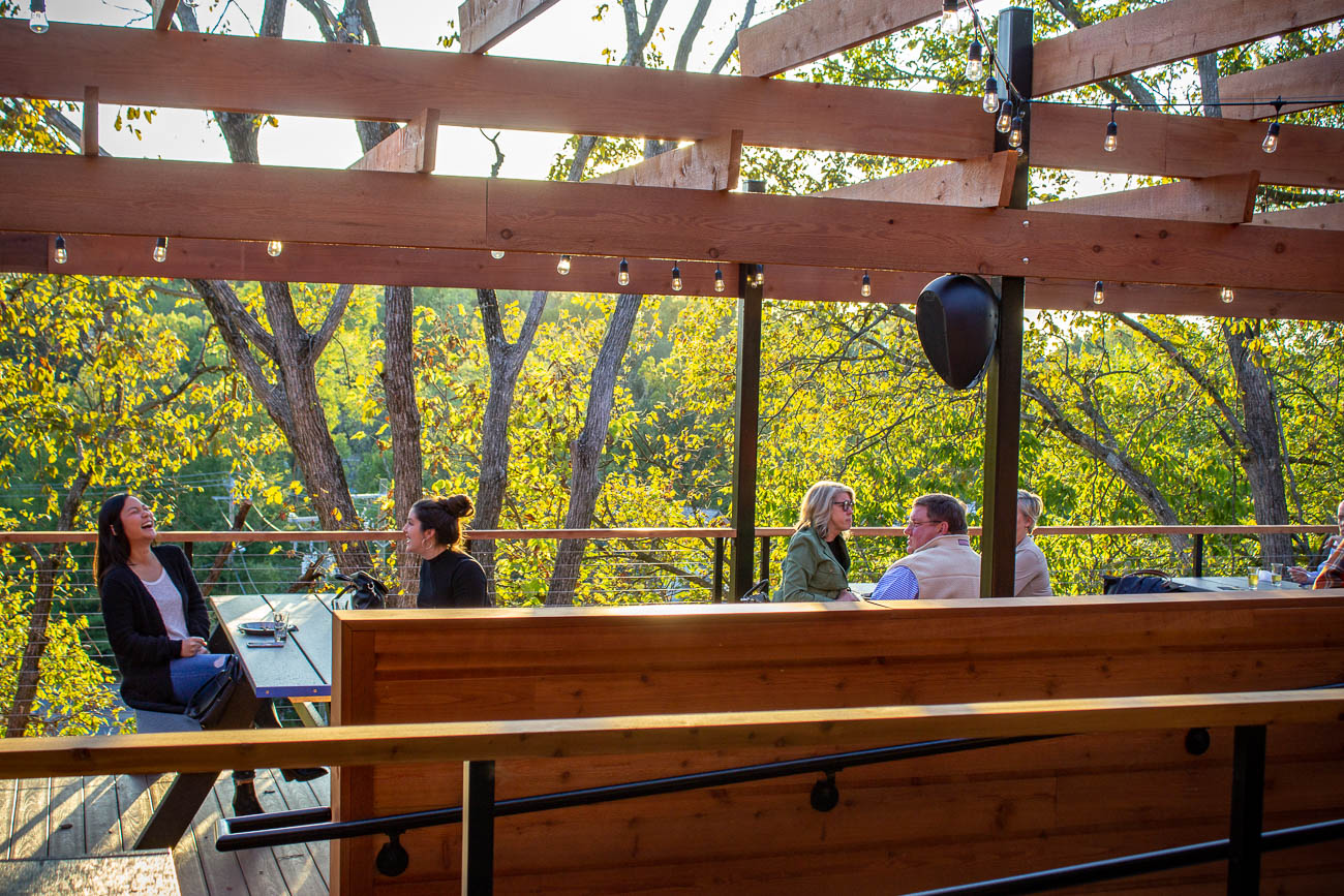 Hops' multi-tiered deck will overlook the Roo Valley—home to a kangaroo habitat, a penguin exhibit, and a ropes course called Klimb. Hops' deck currently seats 130 people and is also rentable for private events. / Image: Katie Robinson, Cincinnati Refined // Published: 10.9.19