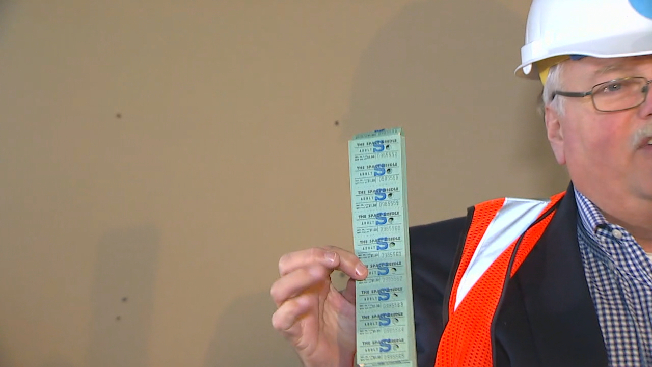 A set of 1975 tickets for admittance to the Space Needle Observation Deck{&amp;nbsp;}(KOMO Photo)<p></p>