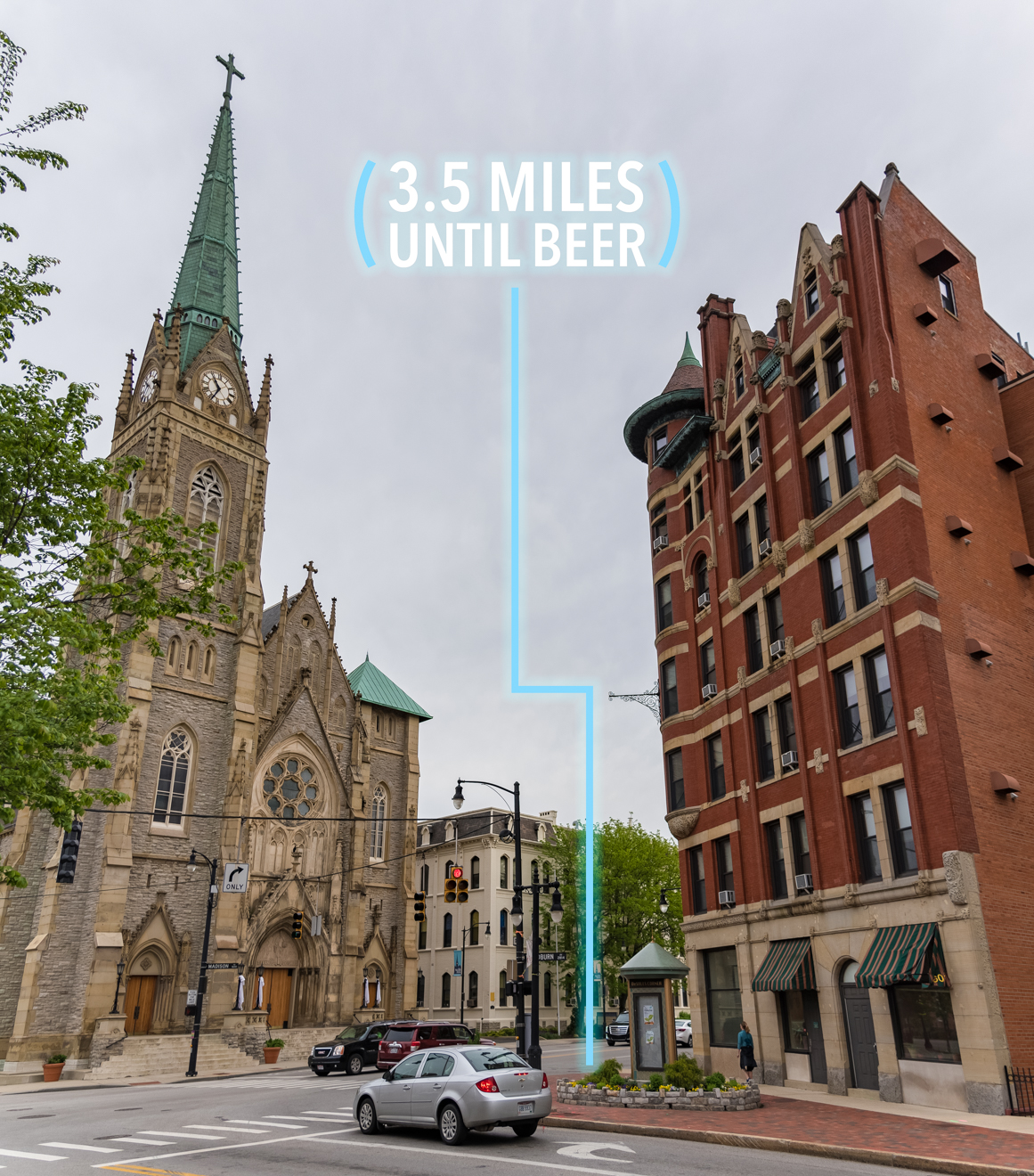 At DeSales Corner (the intersection of Woodburn Avenue and Madison Road), turn right onto Madison Road. MadTree is also on this road, but you still have a few miles to go. / Image: Phil Armstrong, Cincinnati Refined // Published: 4.25.17