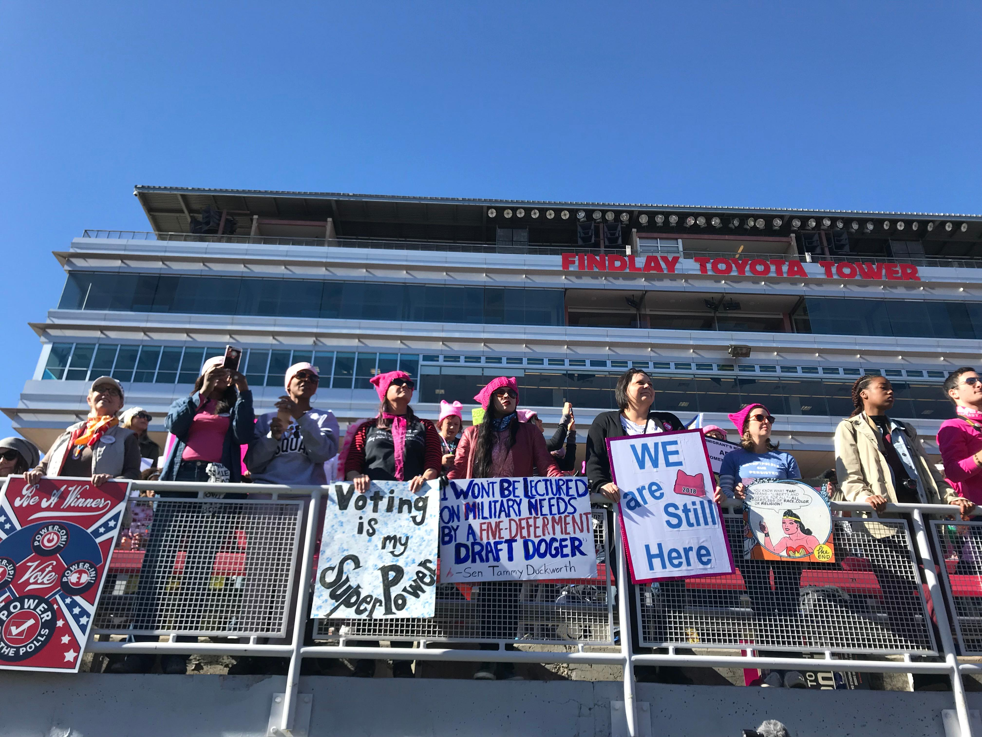 Part of the crowd at the Women's Voter March Rally at Sam Boyd Stadium in Las Vegas on Sunday, Jan. 21, 2018. (Kyndell Nunley | KSNV)<p></p>
