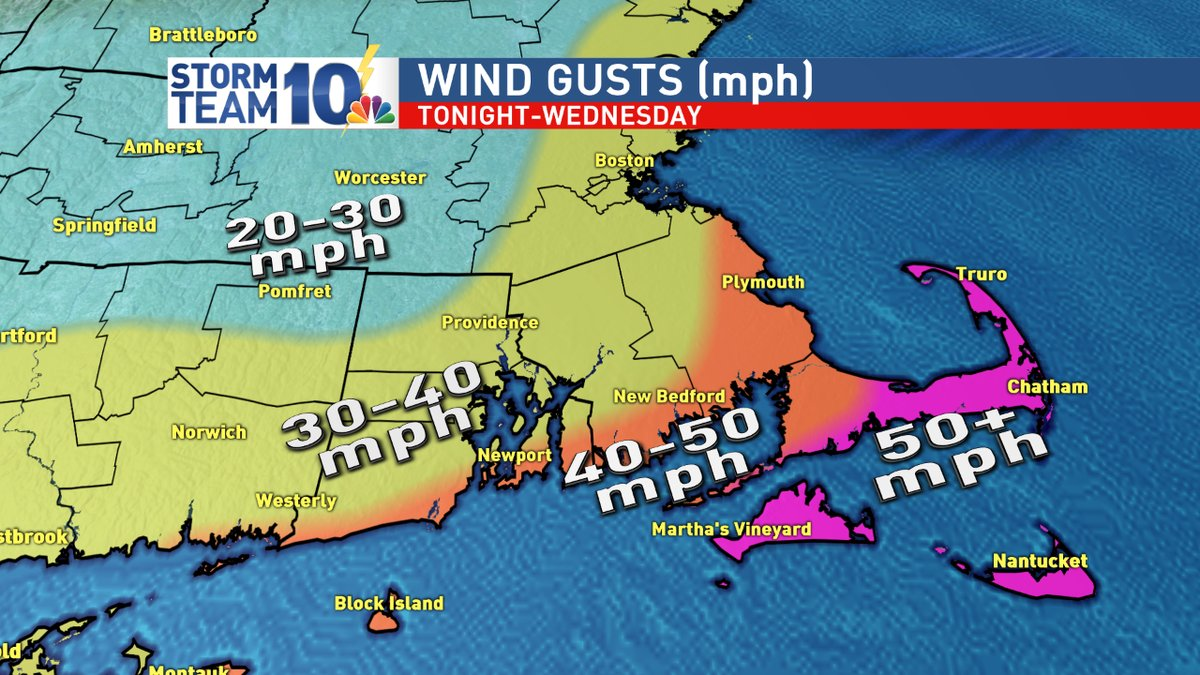 Forecast wind gusts through Wednesday