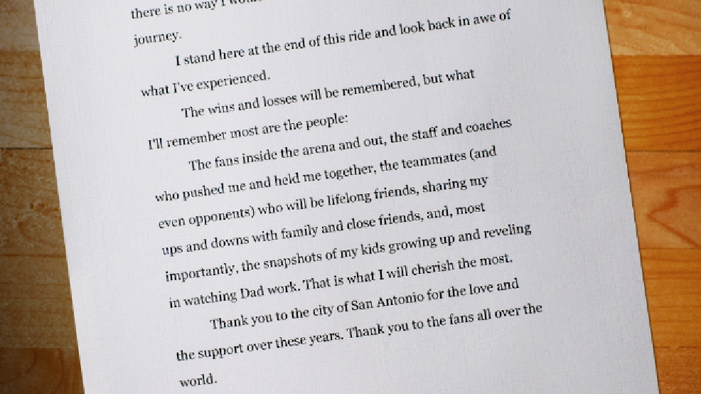 Tim Duncan Leaves Spurs Fans A Goodbye Letter | Woai