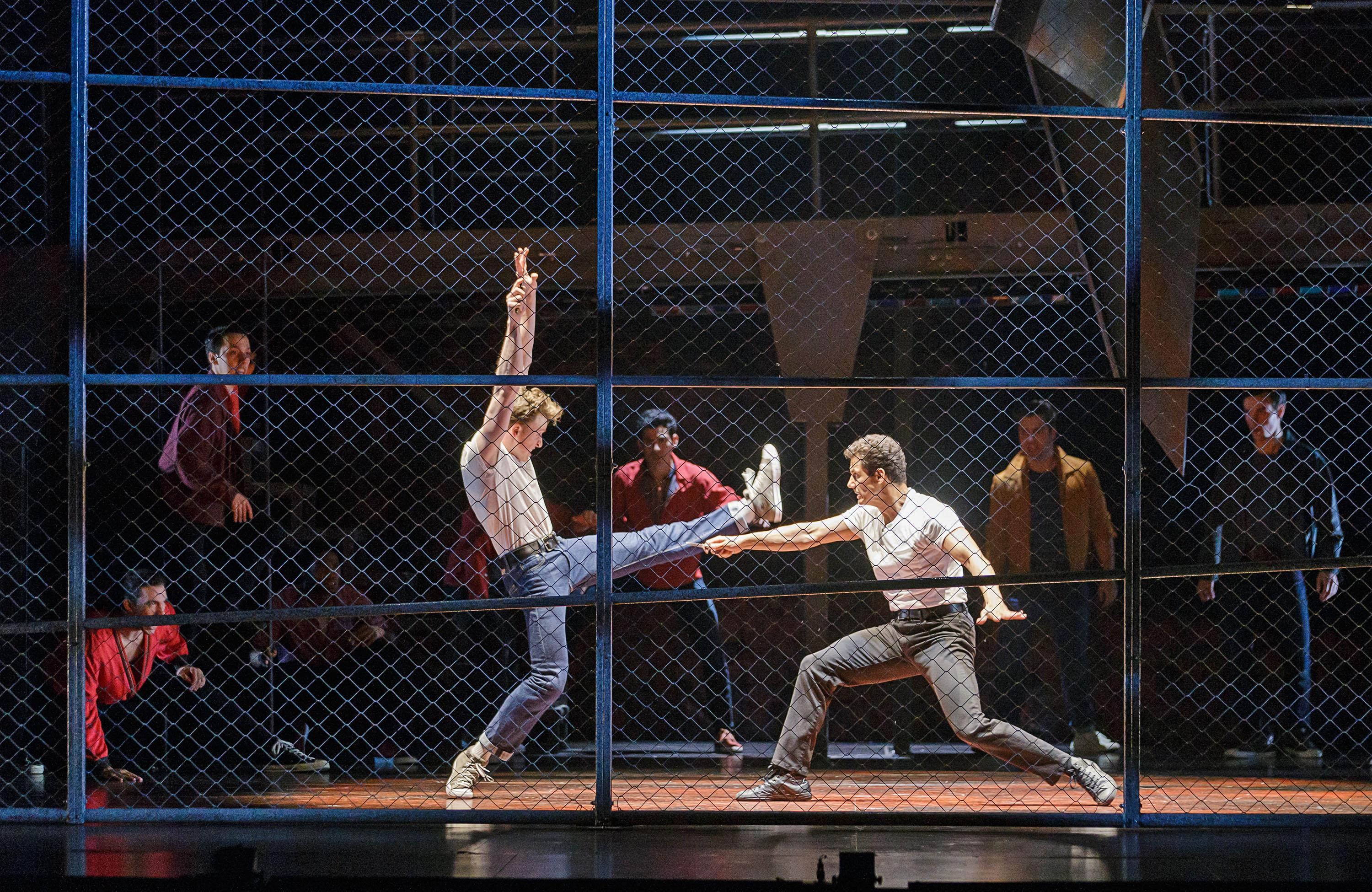 Dan Lusardi as Riff and Aleander Gil Crus as Bernardo in West Side Story at The 5th Avenue Theatre (Photo Credit: Mark Kitaoka)