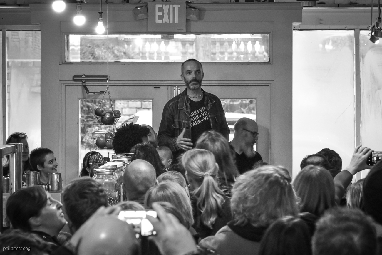 Danny Korman, owner, addresses the crowd at Park+Vine one final time. / Image: Phil Armstrong, Cincinnati Refined // Published: 1.21.17