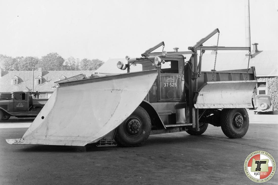Fill 'er up? While the danger of handling flammable liquids remains a key underpinning of Oregon's general prohibition of self-service gasoline, this photo shows a 1930s era &quot;wing plow&quot; for clearing snow. Snow - and rain - and the hazards they present for slipping and falling also factor into Oregon's reasoning. (Oregon DOT/CC by 2.0)<p></p>