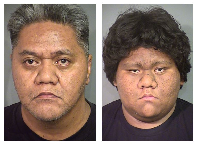 Fili Fagaima, 52, and Aaron Makuakane, 19, are suspected in a beating death outside of a convenience store. (LVMPD/KSNV)