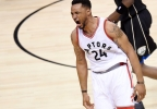Toronto Raptors guard Norman Powell (24) reacts after dunking against the Milwaukee Bucks during the second half of game five of an NBA first-round playoff series game in Toronto on Monday, April 24, 2017.