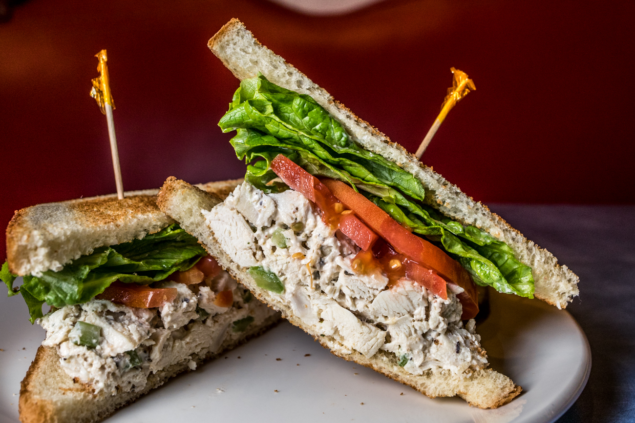 Chicken Little: chicken salad on toasted white or wheat bread with lettuce and tomato and served with pickles / Image: Catherine Viox{ }// Published: 2.2.20