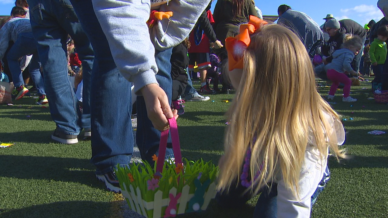 East Pierce firefighters gathered with parents and their children Saturday morning to hunt for Easter eggs and candy. Firefighters hosted three hunts: one in Sumner, one in South Prairie and one in Edgewood. The hunt in South Prairie is celebrating its 60th year. KOMO photo.