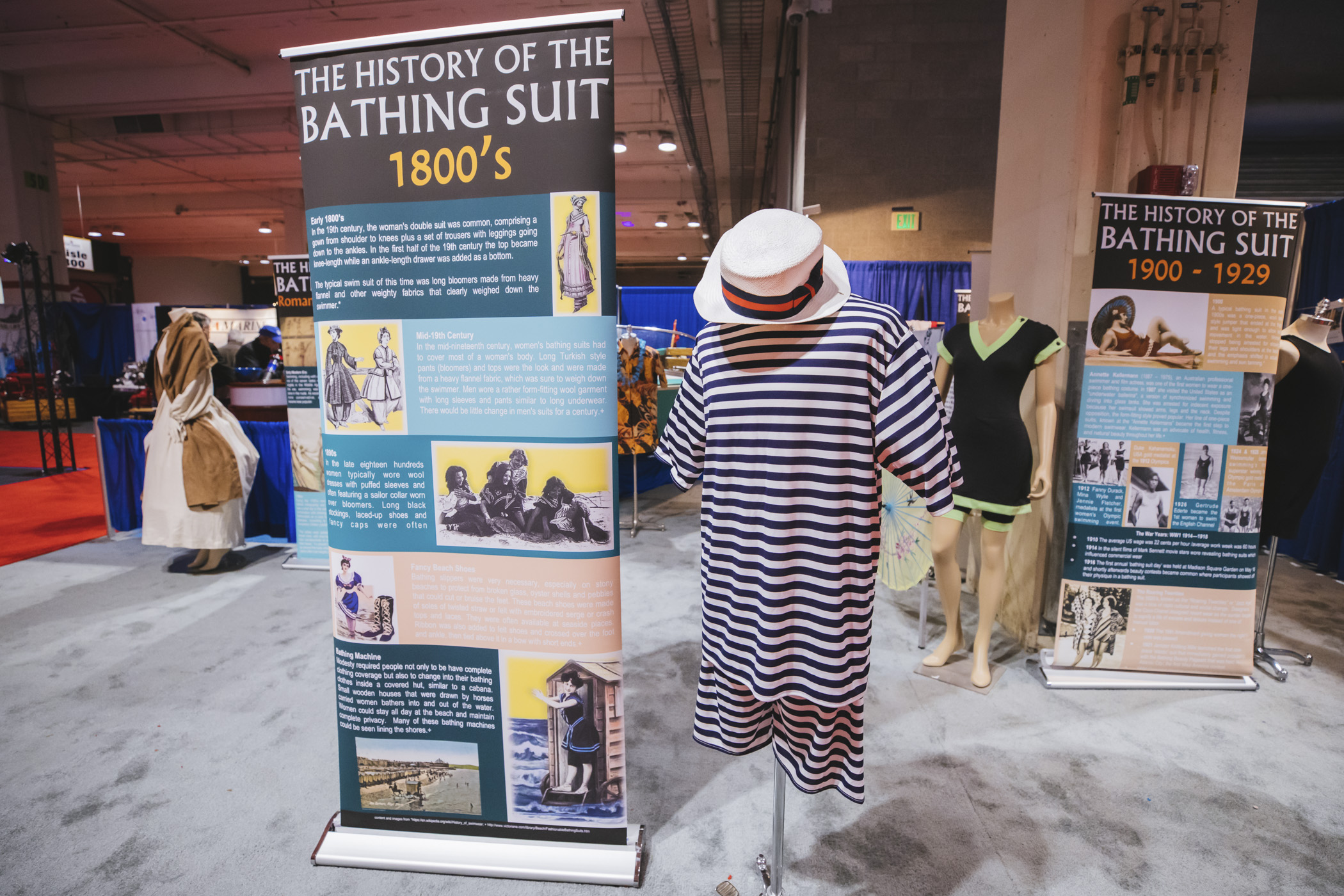 The History of the Bathing Suit:  1800s. In the 19th century, the woman's double suit was common, comprising a gown from shoulder to knees plus a set of trousers with leggings going down to the ankles. In the mid nineteenth century women's bathing suits had to cover most of a woman's body, with long Turkish style pants and tops made of heavy flannel. In the late 1800s women wore wool dresses with puffed sleeves and often, a sailor collar. Bathing slippers were very necessary, especially on stony beaches. (Image: Sunita Martini / Seattle Refined)<p></p>