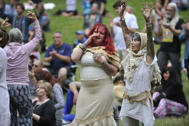 A celebration of life ceremony is held for Taliesin Myrddin Namkai-Meche at Lithia Park on June 7, 2017 in Ashland - Jamie Lusch