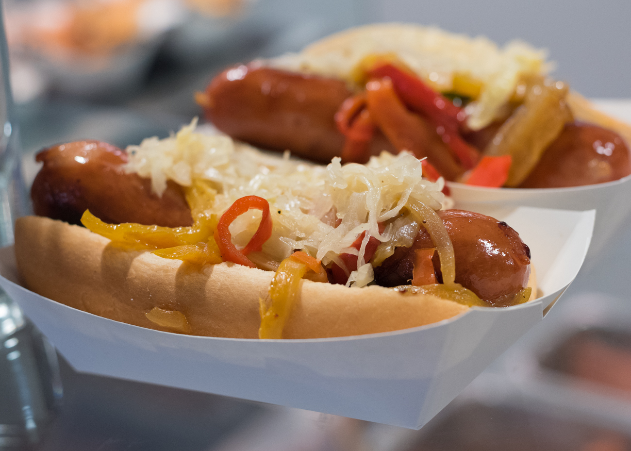 Queen City Wicked Sausages: selection of chipotle, ghost pepper and jalapeno sausages, topped with fresh peppers and onions / Image: Phil Armstrong, Cincinnati Refined: 4.12.18