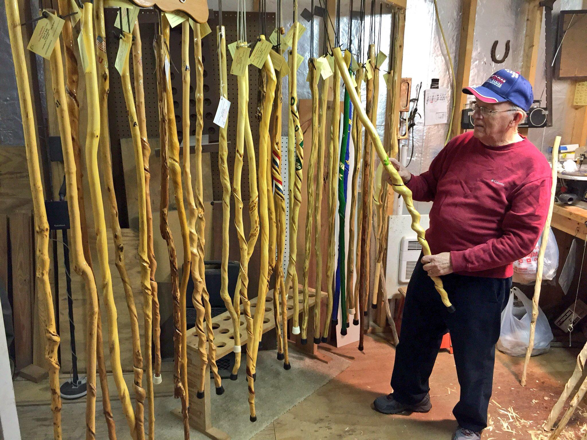Kelly has made over 500 walking sticks and canes. (WCHS/WVAH)