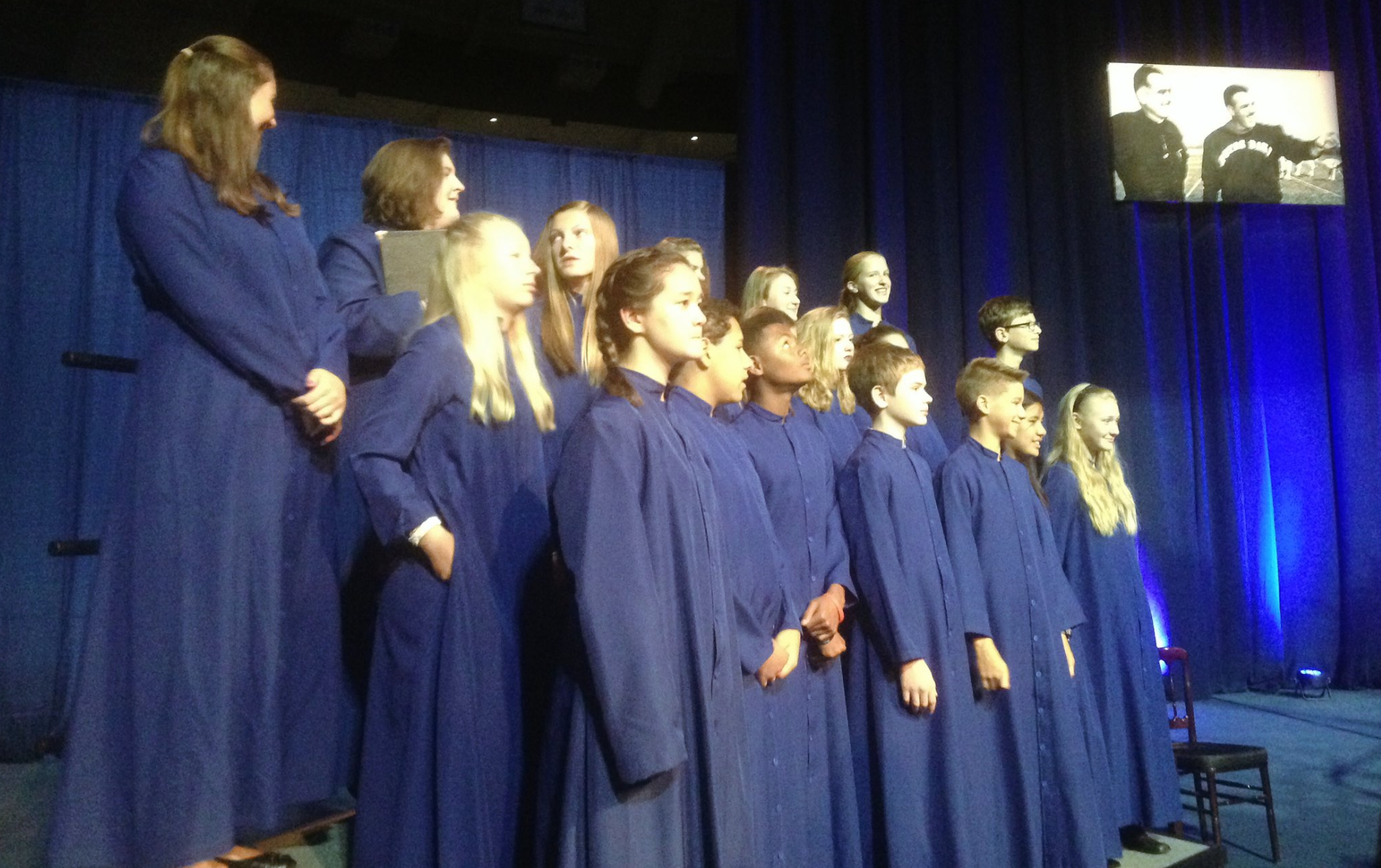 The Notre Dame Children's Choir performs at Ara Parseghian's services Sunday // WSBT 22 photo