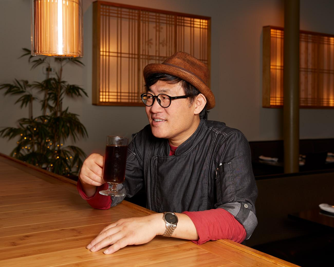 "A portrait of Chef Sung Jun Oh, owner of Dolsot Bistro. First published on September 18 in ""Blue Ash's Dolsot Bistro Is Korean Excellence in a (Very) Hot Bowl"" / Image: Marlene Rounds"